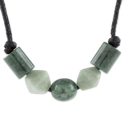 Jade pendant necklace, 'Geometric Family' - Geometric Jade Beaded Pendant Necklace from Guatemala