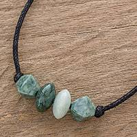Jade pendant necklace, 'Geometry and Harmony' - Handcrafted Jade Beaded Pendant Necklace from Guatemala