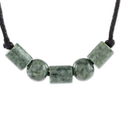Jade pendant necklace, 'Spherical Unity' - Circular Jade Beaded Pendant Necklace from Guatemala