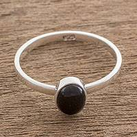 Jade single stone ring, 'Force and Beauty' - Black Jade and Silver Single Stone Ring from Guatemala