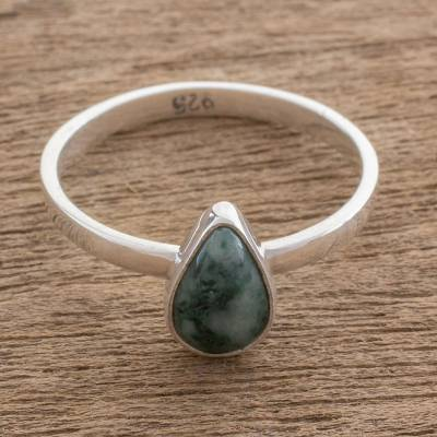 Jade single-stone ring, 'Ancient Drop' - Drop-Shaped Jade Single Stone Ring from Guatemala