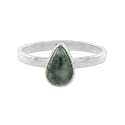Drop-Shaped Jade Single Stone Ring from Guatemala