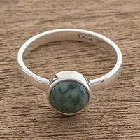 Jade single-stone ring, 'Beautiful Circle in Green' - Circular Green Jade Single Stone Ring from Guatemala