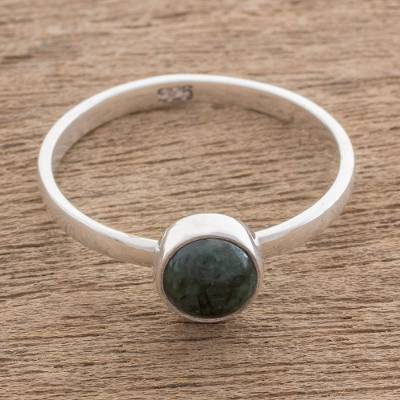 Jade single stone ring, 'Beautiful Circle in Dark Green' - Circular Dark Green Jade Single Stone Ring from Guatemala
