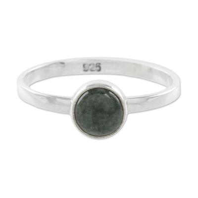 Jade single stone ring, 'Beautiful Circle in Dark Green' - Circular Dark Green Jade Single Stone Ring from Guatemala