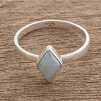 Jade single-stone ring, 'Love Rhombus in Light Green' - Rhombus Light Green Jade Single-Stone Ring from Guatemal
