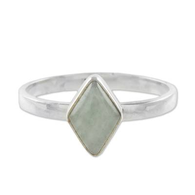 Rhombus Light Green Jade Single-Stone Ring from Guatemal