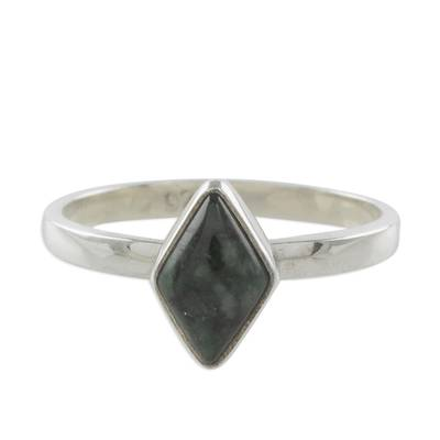 Jade single stone ring, 'Love Rhombus in Dark Green' - Rhombus Dark Green Jade Single Stone Ring from Guatemala