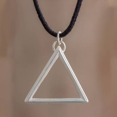 Sterling silver pendant necklace, 'Divine Geometry' - Sterling Silver Triangle Pendant Necklace on Cotton Cord