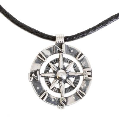 Sterling silver pendant necklace, 'True Compass' - Handcrafted Sterling Silver Compass Pendant Necklace