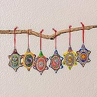 Ceramic ornaments, 'Tropical Turtles' (set of 6)