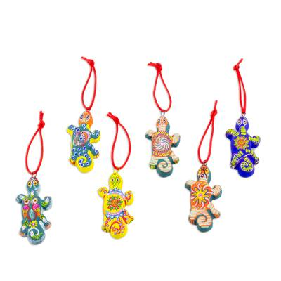 Ceramic ornaments, 'Festive Gecko' (set of 6) - Handcrafted Guatemalan Ceramic Lizard Ornaments (Set of 6)