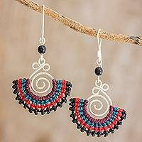 Onyx and macramé dangle earrings, 'Folklorico in Red' - Onyx, Sterling Silver and Colorful Macramé Fan Earrings
