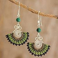 Malachite and macramé dangle earrings, 'Folklorico in Green' - Malachite, Sterling Silver and Green Macramé Fan Earrings