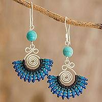 Macramé dangle earrings, 'Folklorico in Blue' - Sterling Silver and Blue Macramé Fan Earrings