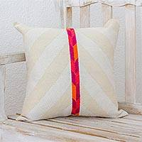 Cotton cushion cover, 'Sunny Afternoon' - Striped Cotton Cushion Cover in Off-White with Accent Band
