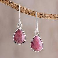 Rhodonite dangle earrings, 'Drops of Harmony' - Drop-Shaped Rhodonite Dangle Earrings from Guatemala