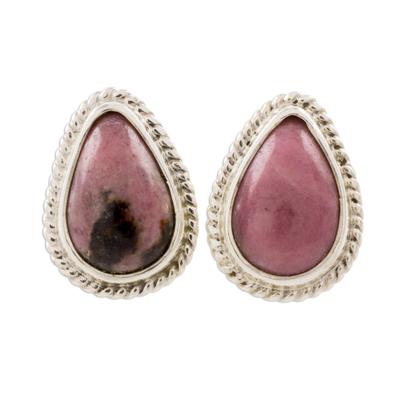 Drop-Shaped Rhodonite Button Earrings from Guatemala
