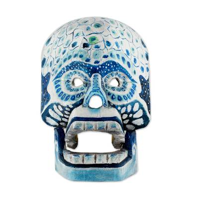 Hand-Carved Wood Day of the Dead Skull Mask from Guatemala