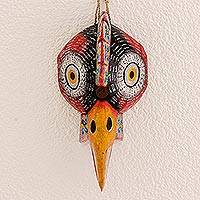Wood mask, 'Vigilant Rooster' - Hand-Carved Pinewood Rooster Mask from Guatemala