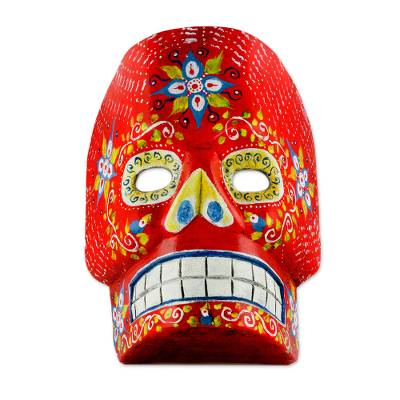 Wood Day of the Dead Skull Mask in Red from Guatemala