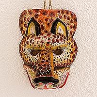Wood mask, 'Sacred Energy' - Hand-Painted Pinewood Jaguar Mask from Guatemala
