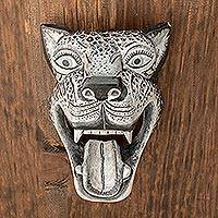 Wood mask, 'Black and White Jaguar' - Black and White Pinewood Jaguar Mask from Guatemala