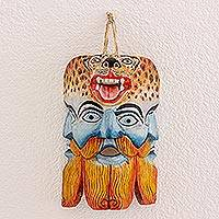 Wood mask, 'Guatemalan Conquest' - Hand-Carved Painted Pinewood Mask from Guatemala