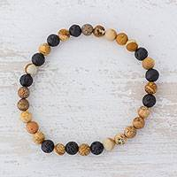 Jasper beaded stretch bracelet, 'Volcano Path' - Jasper and Lava Stone Beaded Stretch Bracelet from Guatemala