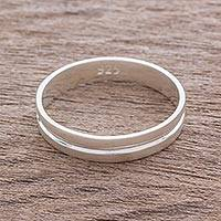 Sterling silver band ring, 'Eternal Elegance' - Artisan Crafted Sterling Silver Band Ring from Guatemala