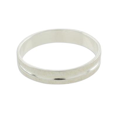 Sterling silver band ring, 'Eternal Elegance' - Artisan Crafted Sterling Silver Band Ring from Guatemala