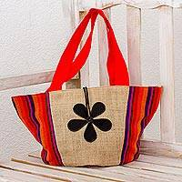 Cotton and jute tote handbag, 'Summer Vacation' - Jute and Cotton Tote Handbag with Leather Floral Accent
