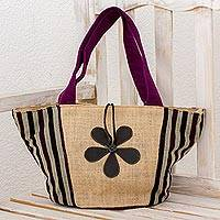 Cotton and jute tote handbag, 'Long Vacation' - Jute and Cotton Tote Handbag with Leather Floral Accent