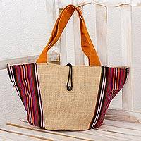 Cotton and jute tote handbag, 'Latin Festival' - Jute and Cotton Tote Handbag with Multicolor Stripe Pattern