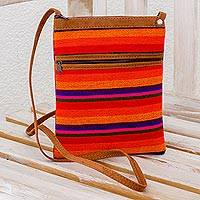 Cotton sling bag, 'Stroll in Paradise' - Handcrafted Striped Cotton Sling Bag from Guatemala