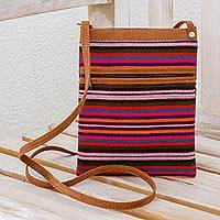 Cotton sling bag, 'Evening in Paradise' - Handcrafted Striped Cotton Sling Bag from Guatemala