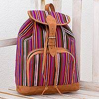 Cotton backpack, 'Mountain Adventure' - Multicolor Striped Cotton Backpack Purse from Guatemala