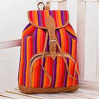 Cotton backpack, 'Sunrise Adventure' - Multicolor Striped Cotton Backpack from Guatemala