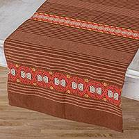 Cotton table runner, 'Striped Paths in Chestnut' - Striped Cotton Table Runner in Chestnut from Guatemala