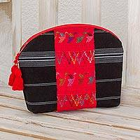 Cotton cosmetic bag, 'Tactic Stripes in Black' - Handwoven Cotton Cosmetic Bag in Black from Guatemala