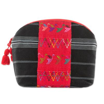 Handwoven Cotton Cosmetic Bag in Black from Guatemala