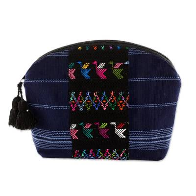 Handwoven Cotton Cosmetic Bag in Navy from Guatemala