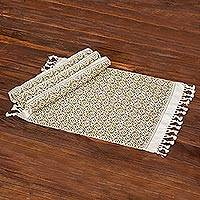 Cotton placemats, 'Woven Fields in Olive' (set of 4) - Eggshell Cotton Placemats with Olive Green Pattern (4)