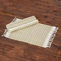 Cotton placemats, 'Woven Fields in Sage' (set of 4) - Handwoven Cotton Placemats in Sage from Guatemala