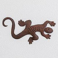 Steel wall sculpture, 'Guatemalan Fauna' - Brown Steel Lizard Wall Sculpture from Guatemala