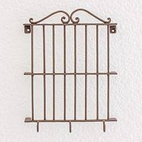Iron key holder, 'Colonial Balcony' - Colonial Balcony Iron Key Holder with Three Hooks