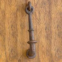 Iron door knocker, 'Rustic Home' - Rustic Iron Antiqued Copper Finish Door Knocker