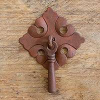 Iron drawer pull, 'Rustic Flower' - Hand Crafted Iron Drawer Pull with Scalloped Floral Motif