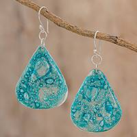 Recycled CD dangle earrings, 'Bubbly Skies' - Blue Recycled CD Dangle Earrings from Guatemala