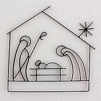 Iron wall art, 'Guiding Christmas Star' - Handcrafted Black Iron Silhouette Wall Nativity Scene